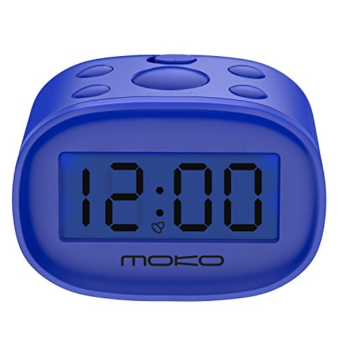 Kids Alarm Clock, MoKo High Accuracy Mini LCD Display Digital Clock Night Light Travel Bedside Alarm Clocks with Snooze Time Backlight Electronic Home Office Table Clock - Blue