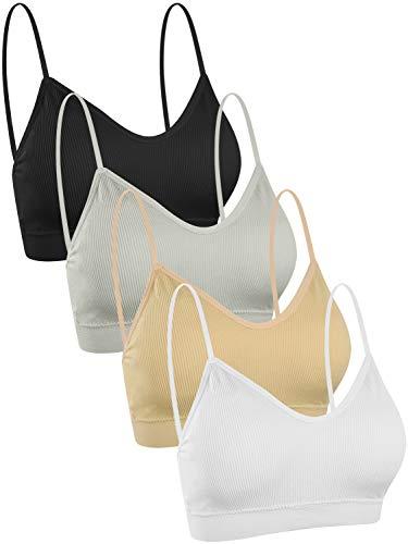 UMIPUBO 4 Piezas de Sujetador de Camisola para Mujer Sujetador de Tubo de Cuello V Banda Sujetador de Dormir Sujetador Deportivo Ropa Interior con Tirantes Elásticos