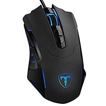 PICTEK Gaming Mouse Wired [7200 DPI] [Programmable] [Breathing Light] Ergonomic Game USB Computer Mice RGB Gamer Desktop Laptop PC Gaming Mouse 7 Buttons for Windows 7/8/10/XP Vista Linux Black