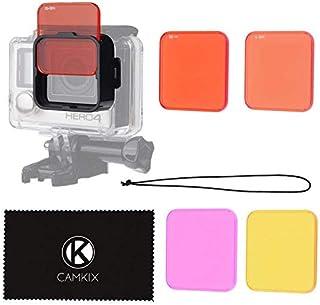 CAMKIX Juego de filtros para Lentes Compatible con GoPro Hero 4 Black Silver Hero+ Hero+ LCD Hero and 3+ - Mejora los Colores para Diversos Condiciones de Videos Submarinos y Fotograficas