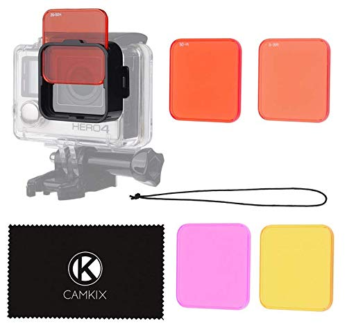 CamKix Diving Lens Filter Kit Compatible with GoPro Hero 4, Hero+, Hero and 3+ - fits Standard Waterproof Housing - Enhances Colors for Underwater Video and Photography - Includes 5 Filters