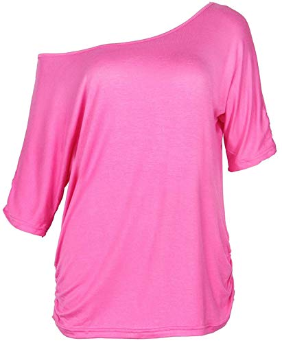 Smile Fish Damen Casual Sternchen Lippen drucken One-Shoulder T-Shirt Oversize 80er Pullover Tops(Rosa,S)