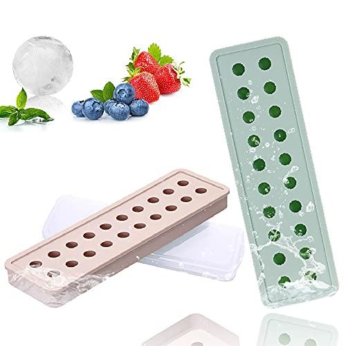 Juego de 2 moldes de silicona para cubitos de hielo, redondos, 20 compartimentos con tapa, para cerveza, cócteles, whisky, cubitos de hielo, fáciles de quitar, color rosa y azul
