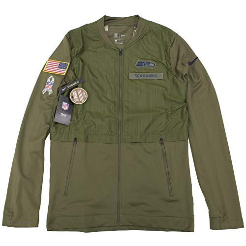 Nike Salute to Service Seattle Seahawks Men's Hybrid Full-Zip Jacket (Olive, Medium)
