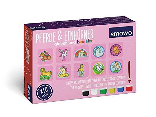 Smowo® Pferde und Einhörner selber gießen und anmalen - Mädchen Bastelset zum Gips giessen mit 10 Figuren für Kinder