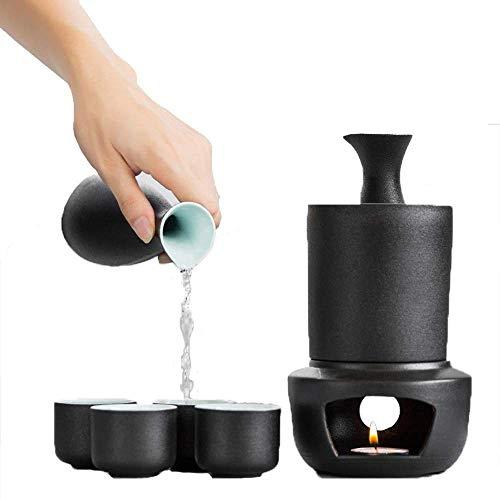 AMYZ Juego de Sake japonés de 7 Piezas,Superficie de Esmalte Negro de cerámica,Pared Interior Cian,Juego de Sake con Olla Caliente y Estufa de Vela,para Tazas de Sake frío/Caliente/Shochu/té para