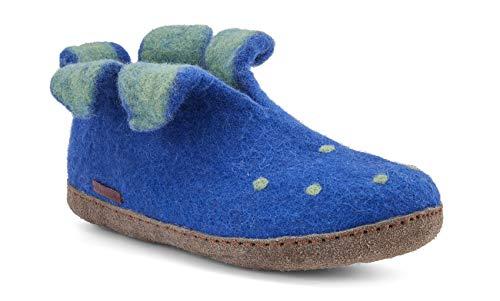 Betterfelt Handgefilzte Wollene Hausschuhe für Damen - Natürliche Wolle - Ledersohle - Größe 41 - Blau - Fairtrade - Peter Pan Filzstiefel