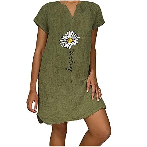 Grün/Grau/Gelb Leinen Kleider Damen V-Ausschnitt Strandkleider Einfarbig A-Linie Kleid Sommer Casual T Shirt Kleider mit Löwenzahn/Liebe Print,Kurzarm Swing Kleid mit Taschen XL-5XL