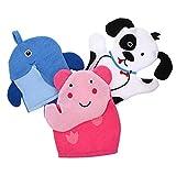 Minkissy 3 Unidades de Dibujos Animados para Bebés Niños Guantes de Baño Esponja de Baño Marioneta de Mano Manoplas de Baño Toalla para Niños Elefante Perro