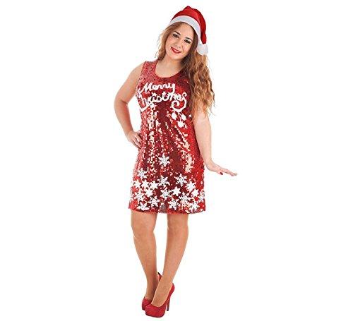 Creaciones Llopis Déguisement de Merry Christmas en Paillettes pour Femme