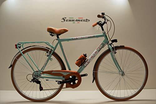 Cicli Ferrareis Bici Trekking 28 Uomo City Bike 6v Shimano Verde Acqua e Marrone personalizzabil