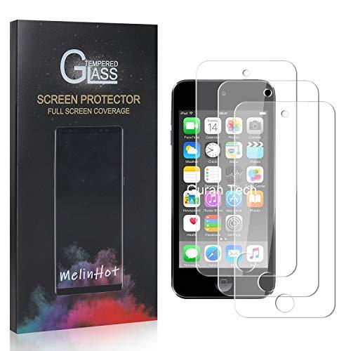 MelinHot Displayschutzfolie für iPod Touch 5th Generation, 9H Anti Kratzen Panzerglasfolie, 99% Transparente Schutzfilm aus Gehärtetem Glas für iPod Touch 5th Generation, 3 Stück