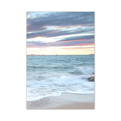 DFSDG Sonnenaufgang Küste Dekorative Leinwand Poster Blaue Meer Landschaftsbild Wellen Leinwand Malerei Druck Strand Wandkunst Deco (Color : Style 3, Size : 40x50cm Frameless)