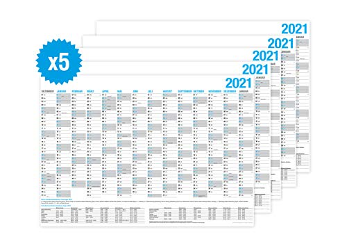 5er SET Wandkalender 2021/2022 - DIN A4 quer - Tafelkalender, Jahresplaner, Jahreskalender & Feiertage