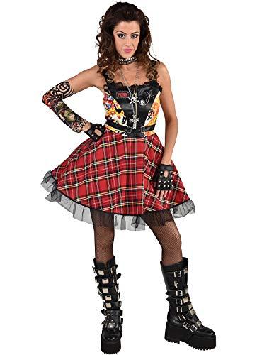 narrenkiste M220164-XS rot-schwarz Damen Punker Kostüm-Kleid Rockerin Gr.XS=34