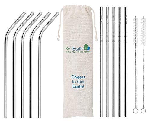 Re4Earth - Set di 10 Cannucce Riutilizzabili in Acciaio INOX, con 2 spazzole per la pulizia e contenitore, materiale di qualità alimentare, ideale per frullati, cocktail