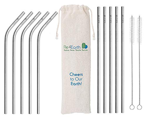 Reusable Metal Straws by Re4Earth - Set of 10 (5 Bent, 5 Straight) Stainless Steel Drinking Straws with 2 Cleaners - Eco Friendly, BPA Free Silver Straws - Plus Free e-Book Smoothie Guide
