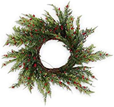 K&K Interiors 54514C 20 Inch Pine Pepper Berry Real Touch Wreath on Vine Base, Green