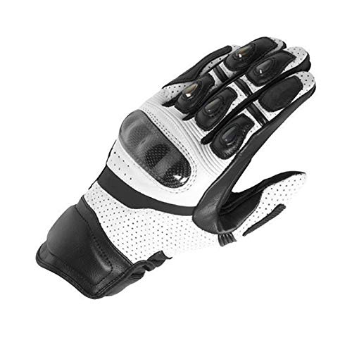 YIKXCF Guantes de Fibra de Carbono Guantes de protección de Motocicletas Motorcycle Midsing Guantes de Cuero Transpirables (Color : White, Size : Large)