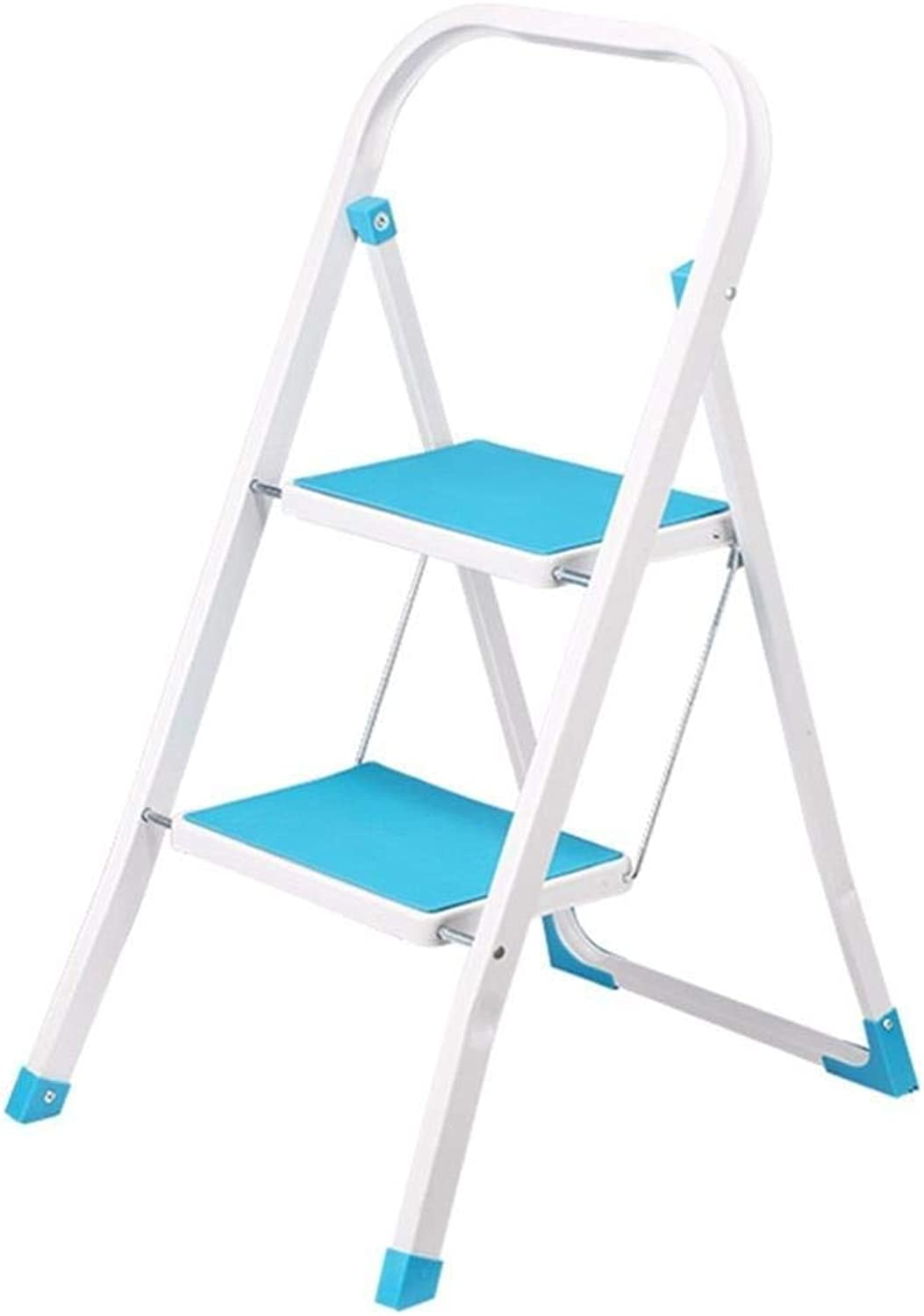 Step Stool 2 Step Iron Folding Ladder Stool with armrest Non-Slip Tread Thickening Household Portable Gardening Kitchen Stool Ladder ladders Step Stool (color   blue)
