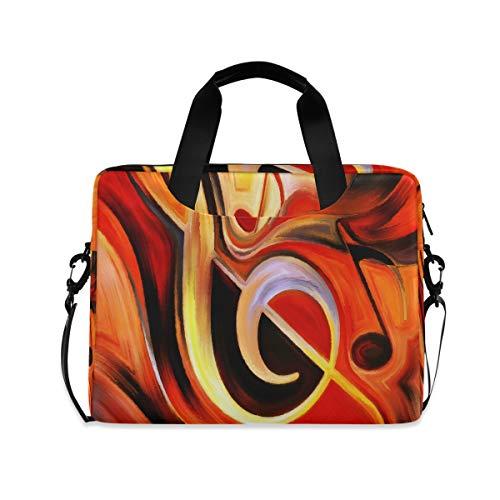 OOWOW - Bolsa para portátil para mujer y hombre, diseño abstracto de notas musicales, maletín ligero de 14 a 15,6 a 16 pulgadas, funda para ordenador portátil