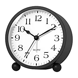 Kpin Silent Analog Alarm Clock with Night Light,Beep Sounds,Gentle Wake,Battery Operated,Easy Set (Black, Large)