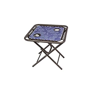 Bliss Hammocks Foldable Sling Side Table with Cupholders, Blue Flowers