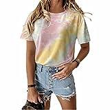 ZFQQ Camiseta de Verano para Mujer, Multicolor, Suelta, con Cuello Redondo, Manga Corta, Estampada con Efecto Tie-Dye