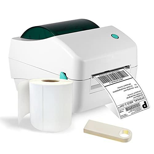 Vogvigo Stampante per Etichette Termiche da Scrivania, con Disco U e Carta per Etichette, Stampante Termica per Etichette Bluetooth, Spedizione Express Label 4 x 6 per Etichette di Spedizione