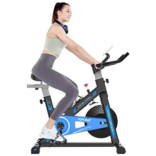 cycool Stationary Bike Exercise Bike Belt Drive Indoor Cycling Bike with Phone Stand,LCD Monitor,Comfortable Seat Cushion (cycoolC1-2)