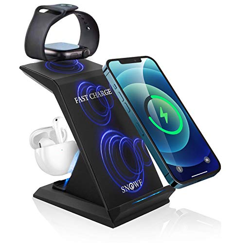 Wireless Charging Stand, 3 in 1 Wireless Charger 22W Fast Charging Station Compatible for Apple Watch 6 SE 5 4 3 2,Airpods 2/Pro,iPhone 12 Pro Max/12 Pro/12/11 Pro/11/X/XS/XR and Qi Certified Phones