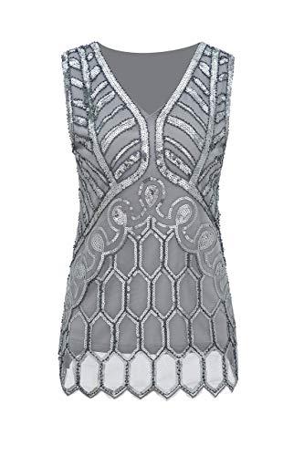 Metme Vintage 1920er Jahre V-Ausschnitt leicht lose Flashy Perlen Pailletten Weste Tops Damen Loose Tunika Bluse Top Grau + Silber M EU40