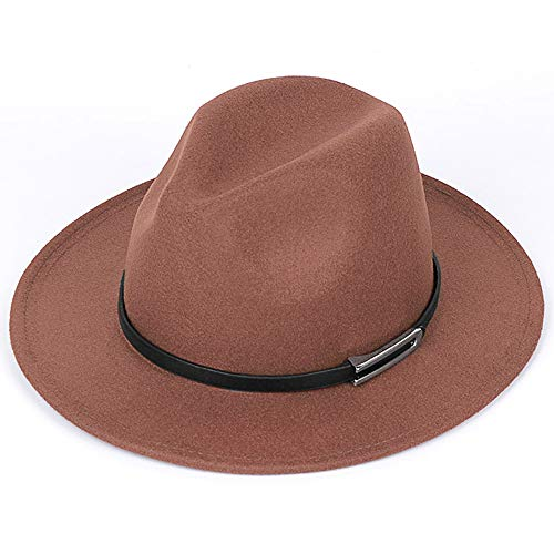 PORSYOND Fedora Hut mit breiter Krempe (Y-Kamel, M)
