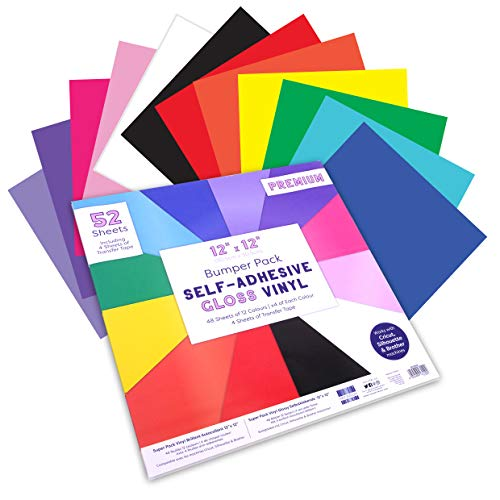 "First Edition Adhesive Gloss Vinyl | 12 Colours | 52 inc 4 Transfer Tape Sheets | Easy to Cut and Weed | Compatible with Cricut and Other Machines, Multicolour, 12""x12"" Bumper Pack"