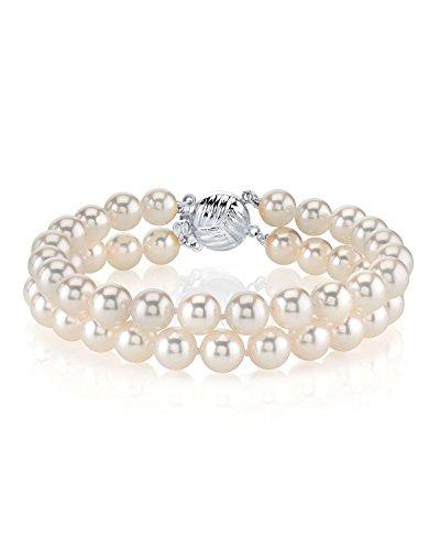 14 K Akoya japonés de oro blanco con perla cultivada - pulsera de doble calidad AAA