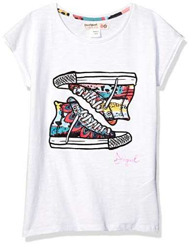DESIGUAL Desigual Mädchen Girl Knit Short Sleeve (TS_Texas) T-Shirt, Weiß (White 1000), 128 (Herstellergröße: 7/8)