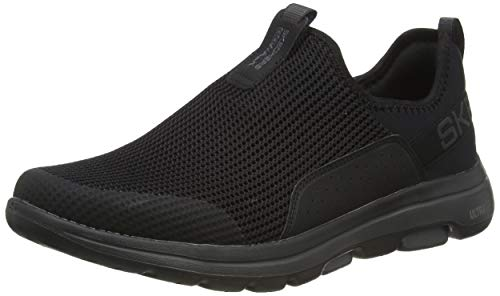 Skechers Go Walk 5, Zapatillas sin Cordones para Hombre, Negro (Black Textile/Synthetic/Charcoal Trim Bkcc), 44.5 EU