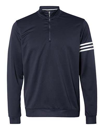 adidas Men's Golf Climalite 3-Stripes Quarter-Zip Pullover, Navy/White, Large