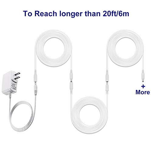 Dericam Universal 20ft Power Extension Cable, DC 12 Volt Power Adapter Extension Cord, Extend Additional 20ft/6 Meters Length for DC 12V Power Adapter or Wall Charger, 5.5mm DC Plug, 12V-6M, White