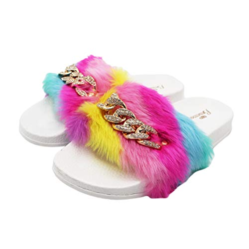 Regenbogen Fuzzy Pantoffeln modische Bunte Kristall Strass Kette Flauschige Flip Flops Sommer Sandalen für Frauen Mädchen Größe 36