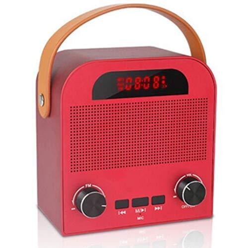 FENGCLOCK Altavoz Bluetooth Inalámbrico De Alarma Al Aire Libre del Reloj, La Voz Inteligente De Radio FM Pronta Reloj Despertador Digital De Radio Portátil, Reloj De Mesa con Manos Libres,Rojo
