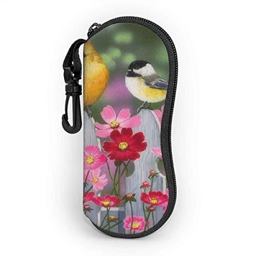 AOOEDM Estuche para gafas suave con mosquetón, Estuche portátil para gafas de sol Daisy y pájaros en jardín