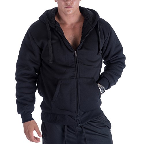 Heavyweight Hoodies for Men with Pockets 1.8 lbs Thick Full Zip Sherpa Fleece Lined Mens Zipper Jackets XL Black