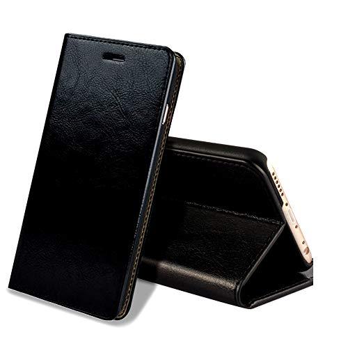 EATCYE Custodia iPhone 6S Plus,Cover iPhone 6 Plus, Custodia in Vera Pelle Pelle Libro Portafoglio in Pelle Magnetic Closure Paraurti per Apple iPhone 6S Plus/iPhone 6 Plus (Nero)