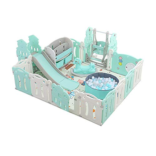 Lowest Price! Hong Jie Yuan Child Guardrail Baby Playpen Kids Activity Centre Safety Play Yard Home Indoor Outdoor Classic Set Baby Playground (Color : Blue)