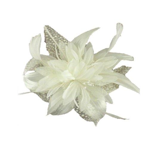Magnifique bibi en tissu crème ivoire avec plumes et filet moucheté