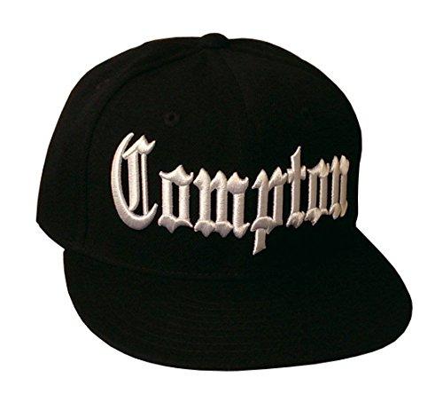 Compton Flat Bill Snapback Gorra de béisbol ajustable, color negro