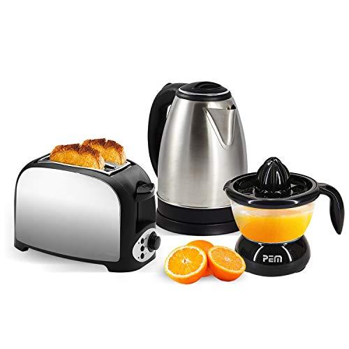 Set petit déjeuner - Grille pain 2 fentes inox + Bouilloire inox 1.8L + Presse-agrumes