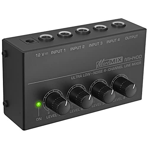 Mezclador de Audio Mono 4 Entradas a 1 Salida TS1/4¨ Interfaz de...
