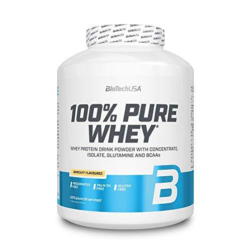 BioTechUSA 100% Pure Whey Premium Protein Isolat Pulver mit zusätzlichen Aminosäuren, glutenfrei, palmölfrei, aspartamfrei, 2270g, Keks